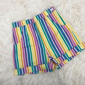 NEW Collectif Ayana Striped Shorts Rainbow Striped